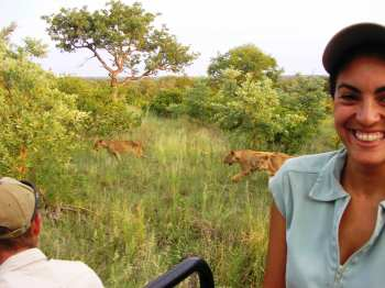 Monique and lions on Singita game drive