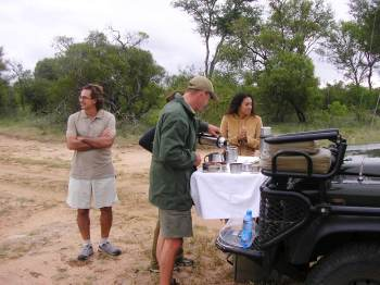 Having tea in the bush, Singita