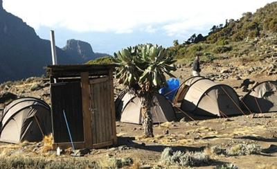 Kili camp and outhouse toilet