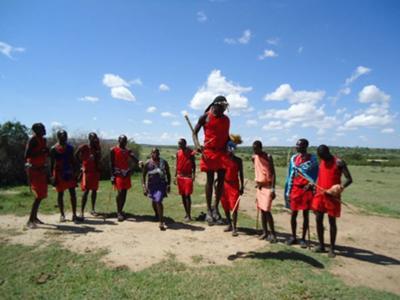 Masai Tribesman Jumping