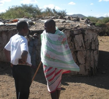 On the way to Joseph's Maasai village, we stopped to visit his brother-in-law, which gave me a closeup of the hut. They have one for each wife.