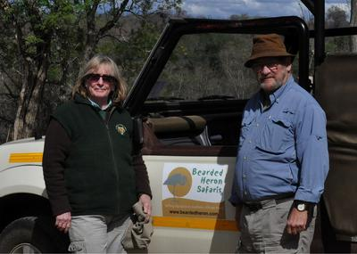 Patty & Field on safari with Bearded Heron
