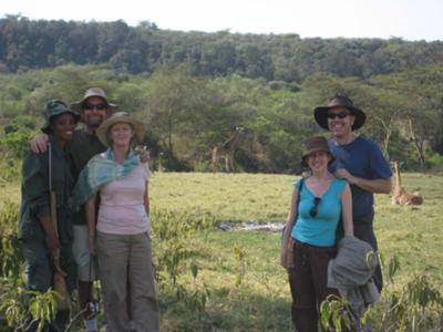 Walking with giraffes in Arusha National Park