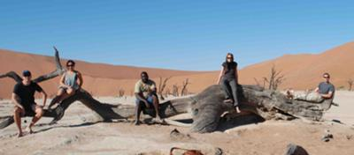 Our group hanging out at Dead Vlei near Sossusvlei Namibia